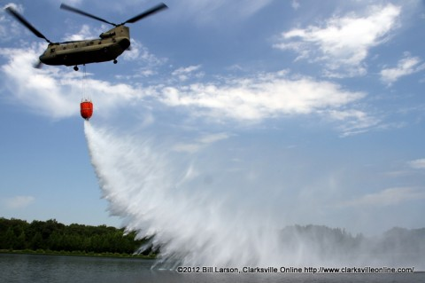Dropping the water on target during a simulated pass