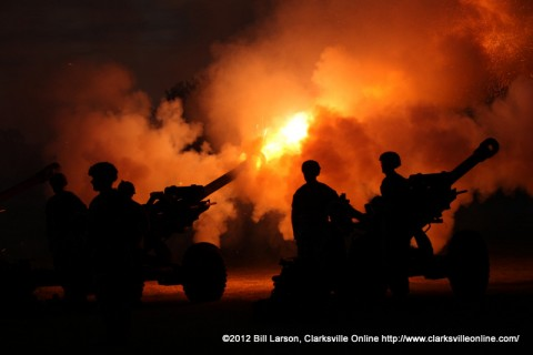 The 1st Battery of the 320th Field Artillery firing the Salute to the 50 States