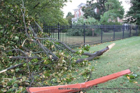 Some of the storm damage at Austin Peay State University which was the hardest hit during yesterdays storm