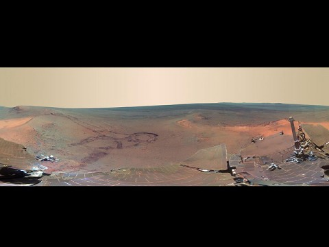 This full-circle scene combines 817 images taken by the panoramic camera (Pancam) on NASA's Mars Exploration Rover Opportunity. It shows the terrain that surrounded the rover while it was stationary for four months of work during its most recent Martian winter. (Image Credit: NASA/JPL-Caltech/Cornell/Arizona State Univ.)
