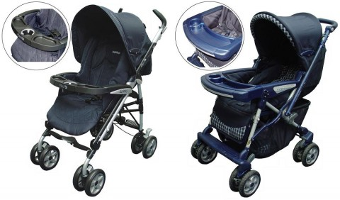Strollers with one cup holder in the child tray (photos above) are included in this recall. (L to R) Pliko-P3 Strollers and Venezia Strollers.