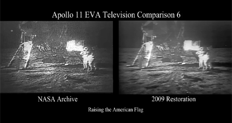NASA has restored video from the July 20th, 1969, live television broadcast of the Apollo 11 moonwalk. (Credit: NASA)