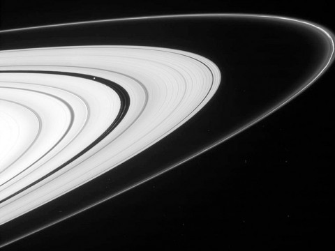 NASA's Cassini spacecraft has recently resumed the kind of orbits that allow for spectacular views of Saturn's rings. This view, from Cassini's imaging camera, shows the outer A ring and the F ring. The wide gap in the image is the Encke gap, where you see not only the embedded moon Pan but also several kinky, dusty ringlets. (Image credit: NASA/JPL-Caltech/SSI)