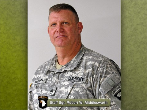 Staff Sgt. Robert W. Middleswarth, 61, 1st Brigade Combat Team, 101st Airborne Division (Air Assault), is scheduled to retire in December. Middleswarth, a Watsontown, PA, native, is one of only two active duty Vietnam veterans still serving on Fort Campbell, KY. (Photo by Spc. Kadina Baldwin)