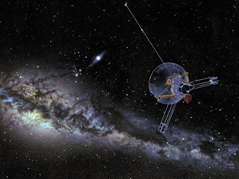 An artist's view of a Pioneer spacecraft heading into interstellar space. Both Pioneer 10 and 11 are on trajectories that will eventually take them out of our solar system. (Image credit: NASA)