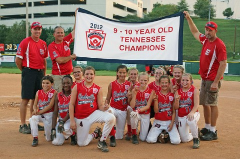 "The 9-10 State Softball Champions Clarksville National ""Red Bulls"" Team members: Madisen Blackwell, Sorina Gantt, Madison Rios, Shelby Gibson, Kallie Robertson, Molly Goins, Kylie Moorefield, Taylor Adkins, Madison Haught, Kalia Vance and Kayla Vanzant. Coaches- Mike Blackwell, Doyle Robertson and Drew Goins."