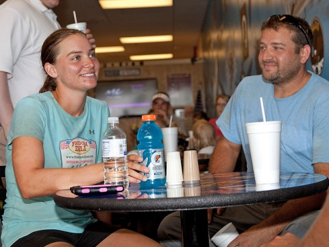 APSU Student Tracee Gruskiewicz stopped at Clarksville's Freedom Deli to rest before continuing her run across America.