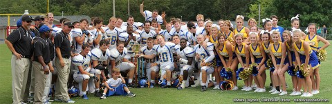 "Clarksville Academy after the ""Battle of the River"" win with the trophy."