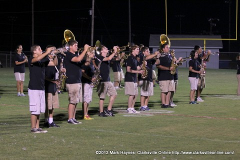 The Montgomery Central High School Marching Band performed after the game cancellation Friday night.