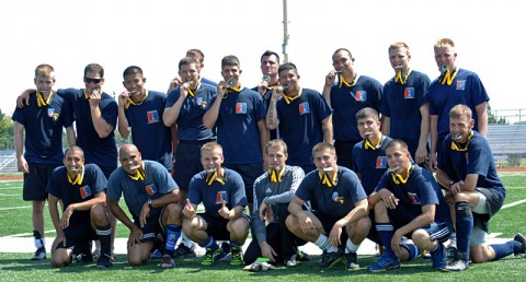 "Members of the 3rd Brigade Combat Team, 101st Airborne Division (Air Assault) ""Rakkasan,"" show off their gold ""Olympic-style"" after defeating the 101st Sustainment Brigade 2-0 in the 2012 Week of the Eagle Championship Soccer game. The Rakkasans dominated the 25-minute second half, scoring their second goal and never looking back. (Photo by Maj. Stacy Hopwood, 3BCT PAO)"