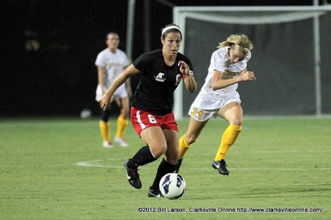 Austin Peay Soccer's Junior Morgan Zigelsky makes a break on the ball against Lipscomb Tuesday night.