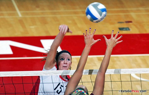Austin Peay Volleyball's Sophomore Hillary Plybon posted a career-best 19 kills in Austin Peay's win over Memphis. (Courtesy: Keith Dorris/Dorris Photography)