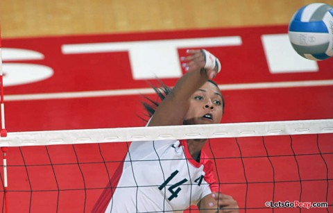 APSU Volleyball's Sophomore Jada Stotts recorded a career-best 19 kills against UALR, Saturday. (Courtesy: Keith Dorris/Dorris Photography)