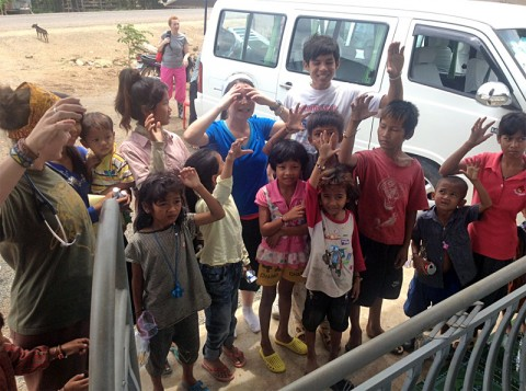 Cambodia children waiting to get medical care.