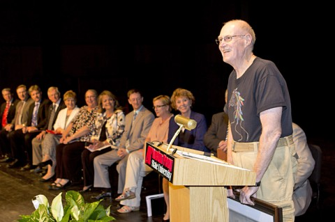 Dr. Bert Randall, professor of philosophy at APSU, was recognized Wednesday, August 22nd for his 40 years of service in teaching during the annual faculty meeting held in the Music/Mass Communication Building Concert Hall. (Photo by Rollow Welch, APSU)