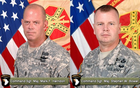 Command Sgt. Maj. Mark F. Herndon and Command Sgt. Maj. Stephen W. Bower