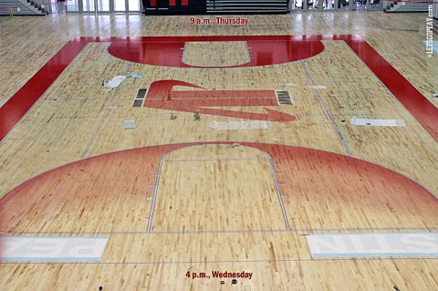 Austin Peay Dunn Center's floor project. (Courtesy: Austin Peay Sports Information)
