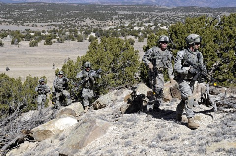 Soldiers with the 1st Battalion, 327th Infantry Regiment, 1st Brigade Combat Team, 101st Airborne Division (Air Assault), march through the mountains at Fort Carson, CO, March 31st, 2012 during pre-deployment training. (U.S. Army photo by 1st Brigade Combat Team Public Affairs, 101st Airborne Division (Air Assault).)