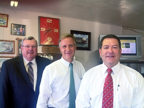(L to R) Tennessee State Representative, Curis Johnson; Tennessee Governor, Bill Haslam; and Republican State Senate Candidate, Mark Green at Moss' Cafe.