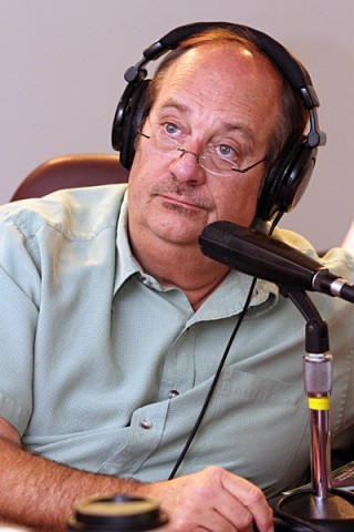 "Hank Bonecutter doing his morning show ""The Bone Show""."
