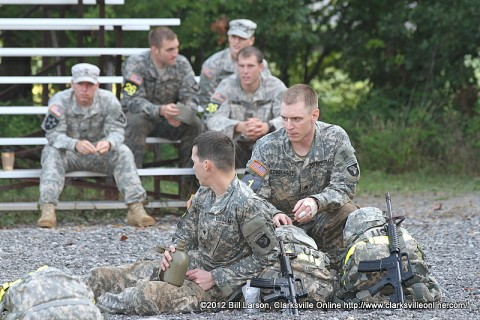 The winners of the Toughest Air Assault Soldier Competition, 1st Lt. Jackson Wittkamper and 2nd Lt. Samuel Wilkins, both infantry platoon leaders with 2nd Battalion, 327th Infantry Regiment, 1st Brigade Combat Team, 101st Airborne Division. (Rear Center, Team 26))