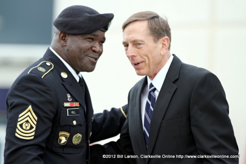 Command Sergeant Major Marvin L. Hill with Gen. David H. Petraeus (U.S. Army Ret) at his retirement ceremony