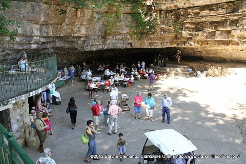 Cooling at the Cave at Dunbar Cave in Clarksville.