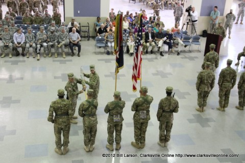 The 101st Combat Aviation Brigade Colors are cased for the deployment to Afghanistan