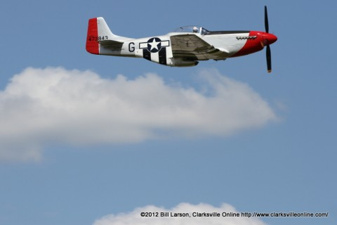 A North American P-51 Mustang up in the wild blue yonder