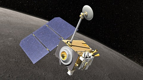 Artist's rendering of the Lunar Reconnaissance Orbiter spacecraft. (Credit: NASA's Goddard Space Flight Center)