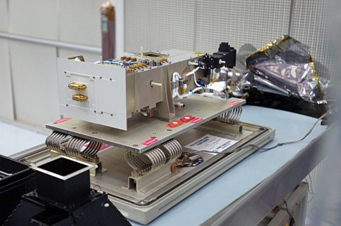 """The Lyman Alpha Mapping Project (LAMP) aboard LRO (shown here in a pre-flight photo) uses a novel method to peer into the perpetual darkness of the moon's so-called permanently shadowed regions. LAMP """"sees"""" the lunar surface using the ultraviolet light from nearby space and stars, which bathes all bodies in space in a soft glow of ultraviolet light. (Credit: NASA Goddard/Debbie McCallum)"""