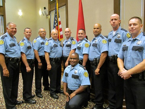 The following officers, left to right, were recently accepted into the Montgomery County Sheriff's Office Reserve program. William Turnage, Shawn Davis, Pete Hernandez, Billy Jones, Keith McVickers, Christopher Mailhiot, Julio Mella, Robert Parker, Gary Moore and Eric Sneed.