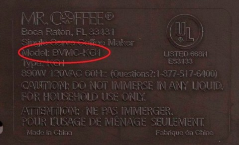 The model number is printed on the bottom of the brewer.