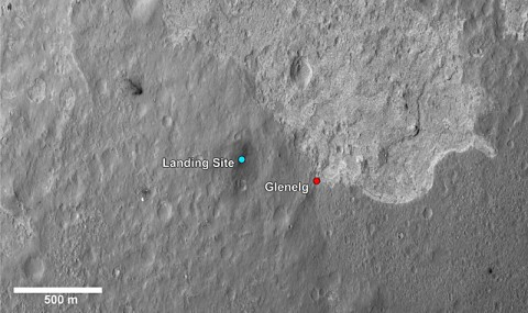 This image shows a closer view of the landing site of NASA's Curiosity rover and a destination nearby known as Glenelg. (Image credit: NASA/JPL-Caltech/Univ. of Arizona)