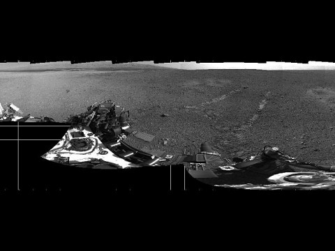 This 360-degree panorama shows evidence of a successful first test drive for NASA's Curiosity rover. On Aug. 22nd, 2012, the rover made its first move, going forward about 15 feet (4.5 meters), rotating 120 degrees and then reversing about 8 feet (2.5 meters). Curiosity is about 20 feet (6 meters) from its landing site, now named Bradbury Landing. (Image credit: NASA/JPL-Caltech)