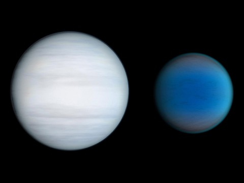 The planets Kepler-47b and Kepler-47c: Kepler-47b has three times the radius of earth and orbits the pair of stars in less than 50 days while Kepler-47c is thought to be a gaseous giant, slightly larger than Neptune with an orbital period of 303 days. (Credit: NASA/JPL-Caltech/T. Pyle)