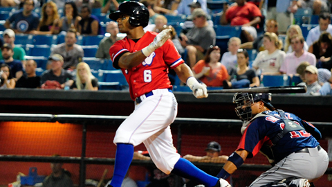 Nashville Sounds Khris Davis ties the game with a sacrifice fly in the fifth. (Mike Strasinger / Nashville Sounds)