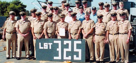 The crew of the LST-325 gathers for a group photograph prior to leaving Crete.