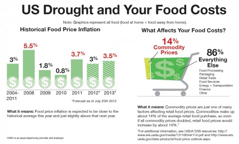 This info graphic demonstrate how the current drought, or any event that affects prices for raw farm commodities, ultimately has a marginal effect on what we pay at the grocery or restaurant. The info graphic is based on data from the USDA Economic Research Service's analysis of retail food prices and the food dollar, or all the factors that affect what we pay for food. (Click to enlarge)