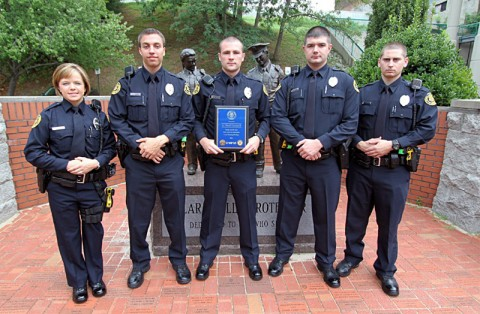 (L–R) Lacey Kitarogers, Anthony Murphy, Dustin Reynolds (Outstanding Officer) Gary Mefford, and Thomas Biele. (Photo Jim Knoll-CPD)