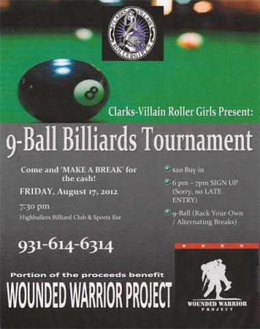 Clarksvillain Roller Girls will be hosting a 9-ball Billiards Tournament at Highballers Billiards Club & Sports Bar