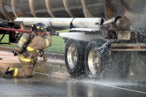 Clarksville Fire Rescue put out a tanker fire early this morning on Wilma Rudolph Boulevard. (Photo by CPD – Jim Knoll)