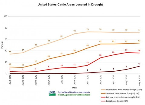U.S. cattle areas located in drought.