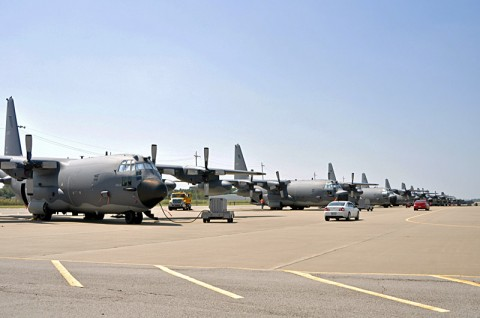 Eight MC-130E Combat Talon I aircraft from the Air Force Reserve's 711th Special Operations Squadron, 919th Special Operations Wing line a portion of the flight line, Wednesday, Aug. 29, at Campbell Army Airfield. The crews and aircraft traveled from Duke Field, Fla. to wait out the severe weather expected from Isaac. (U.S. Army photo by Nondice L. Thurman, Fort Campbell Public Affairs)