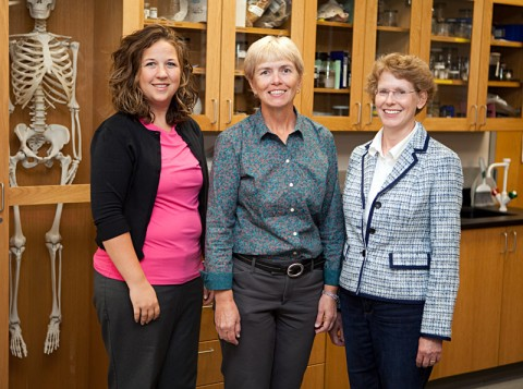 Dr. Karen Meisch, associate professor of biology, Dr. Cindy L. Taylor, professor of biology, and Dr. Nell Rayburn, professor of mathematics, were recently awarded a National Science Foundation grant to offer scholarships to students looking to study STEM subjects. (Photo by Beth Liggett/APSU Staff)