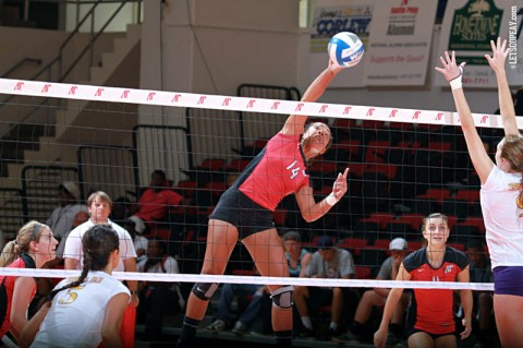 Sophomore Jada Stotts posted 19 kills and three blocks in Austin Peay's five set win at SIU Edwardsville, Friday. (Courtesy: Brittney Sparn/APSU Sports Information)