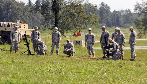 Soldiers from Battery A, 2nd Battalion, 320th Field Artillery Regiment, 1st Brigade Combat Team, 101st Airborne Division, train on 81 mm mortar guns, Sept. 5th, at Observation Point 3 here. (Photo by Sgt. Jon Heinrich)