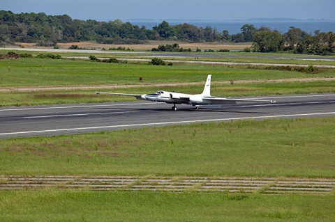 This image show the ER-2 arrival at NASA's Wallops Flight Facility, Wallops Island, VA. (Credit: NASA/Brea Reeves)