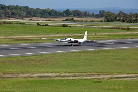This image show the ER-2 arrival at NASA's Wallops Flight Facility, Wallops Island, VA. (Credit: NASA/Brea Reeves)