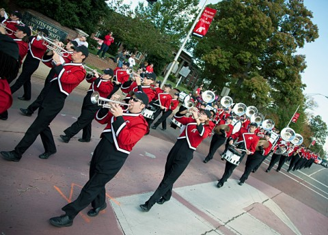 Members of the Governors' Own Marching Band perform during last year's APSU Homecoming Parade. (Photo by Beth Liggett/APSU staff)
